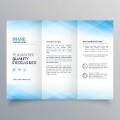 elegant blue trifold brochure flyer design template poster