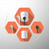 Set of electric outlet and plug type F isolated icons with the inserted black plug on the red hexagon background with shadow. poster