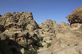 View of the gorge in Little Petra in Siq al-Barid, Wadi Musa, Jordan poster