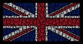 Great Britain Flag mosaic designed of Uncle Sam hat pictograms on a dark background. Vector Uncle Sam hat items are formed into conceptual United Kingdom flag pattern. poster