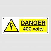 """Plate: """"Danger. 400 Volts""""(Panoramic sign). Sign: """"Danger. 400 Volts""""(Panoramic sign) on a gray background poster"""