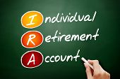 IRA - Individual Retirement Account acronym, concept on blackboard poster