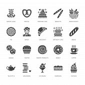 Bakery, confectionery flat glyph icons. Sweet shop products cake, croissant, muffin, pastry cupcake, pie. Food signs, bread house. Solid silhouette pixel perfect 64x64. poster