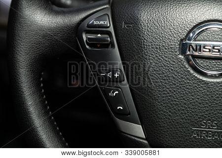 Novosibirsk, Russia - October 23, 2019:  Nissan Teana, New Black Steering Wheel With Multifunction B
