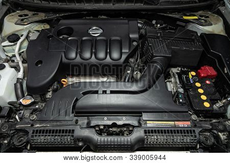 Novosibirsk, Russia - October 23, 2019:  Nissan Teana, Close Up Detail Of  Car Engine, Front View. I