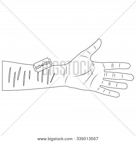 A Cut Wrist With A Blade. Suicide Attempt. White Background Isolated Stock Outline Vector Illustrati
