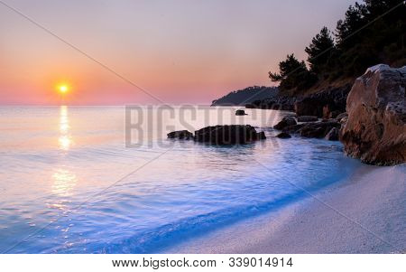 Beautiful Sunset View Over The Sea On Beach