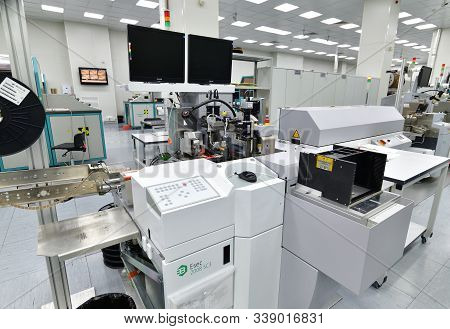Moscow, Russia - Dec. 5.2019. Equipment In Mikron - The Largest Plant For The Production Of Chips. Z