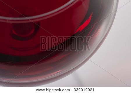 Red Wine In Glass, Viewed From The Top Corner.