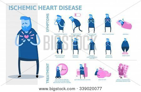 Ischemic Heart Disease Infographics. Signs, Symptoms, And Treatment. Information Poster With Text An