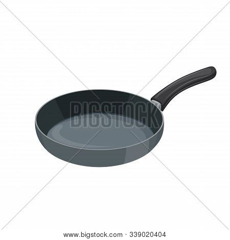 Frying Pan Icon. Kitchen Utensils For Cooking Food. Isolated On White Background. Vector Illustratio