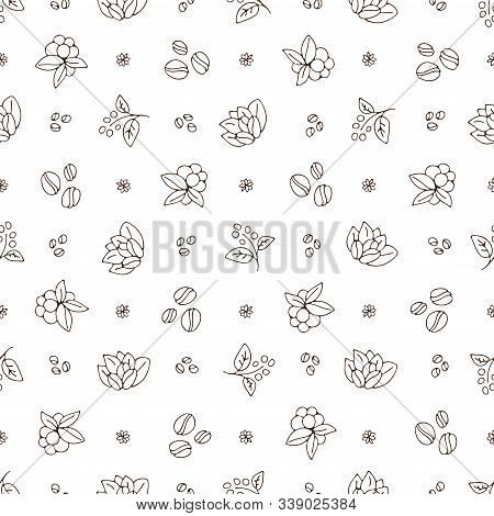 Vector Hand Draw Coffee Cup And Coffee Beans With Leaves Pattern. Coffe Take Away Simple Seamless Pa