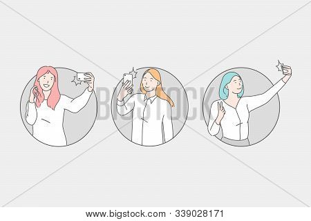 Selfie, Young Women Taking Pictures In Various Poses Concept. Photographing, Profile Picture For Soc