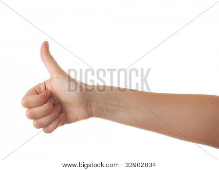 Excellent. Woman hand isolated on white.