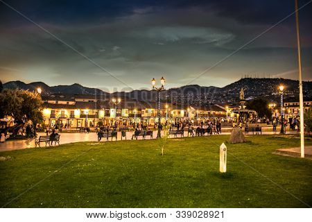 Plaza de Armas in sunset  at  historic center of Cusco Peru. South America.