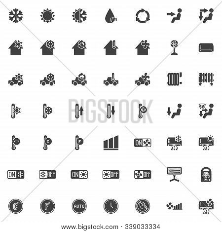 Heating And Cooling System Vector Icons Set, Modern Solid Symbol Collection, Filled Style Pictogram
