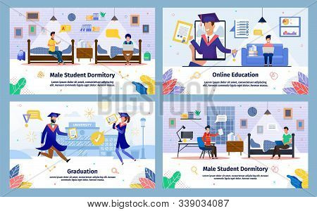 Student Dormitory, Online Education, College Graduation Trendy Flat Vector Banners, Posters Template