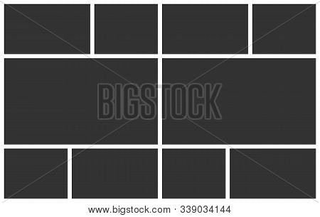 Templates Collage Ten Frames Photos. Poster Frame Mockup. Empty Vector Collage Layout For Photo Mont