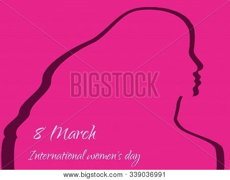 Happy Women Day holiday greeting card illustration. 8 march, womans day, womens day background, women's day banners, women's day flyer, women's day design, women's day with flowers on red background, Copy space text area, vector illustration.