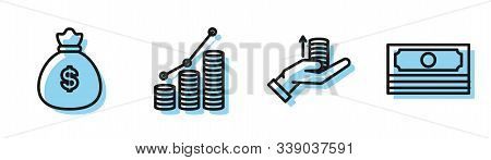 Set Line Money On Hand, Money Bag, Pie Chart Infographic And Coin And Stacks Paper Money Cash Icon.