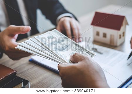 Estate Agent Broker Receive Money From Client After Signing Agreement Contract Real Estate With Appr