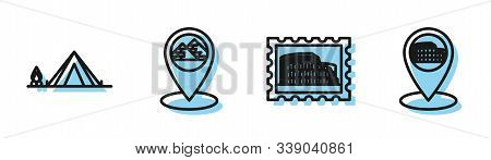 Set Line Postal Stamp And Coliseum, Tourist Tent With Wood Fire, Map Pointer With Egypt Pyramids And