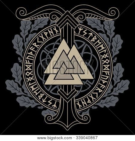 Viking, Scandinavian Design. The Image Of Ancient Pagan Symbols-the World Tree Irminsul, Valknut And