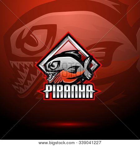 Illustration Of Piranha Esport Mascot Logo Design