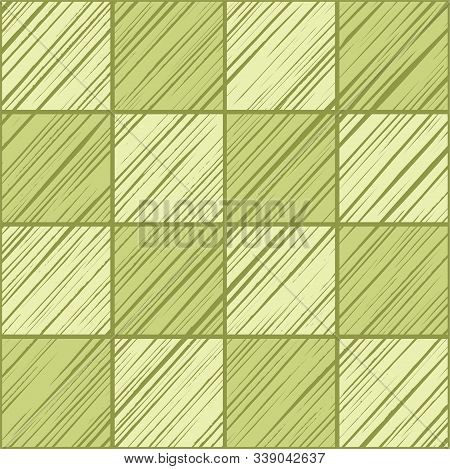 Square Tiles, Background Seamless, Light Green, Vector. Squares Diagonally Shaded In Light Green On