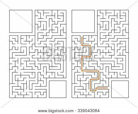 Abstract Rectangular Maze. Game For Kids. Puzzle For Children. Labyrinth Conundrum. Flat Vector Illu