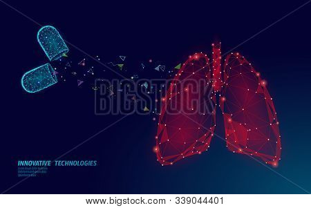 3d Human Lungs Medicine Treatment Concept. Respiratory Virus Infection Cancep Danger. Pill Capsule D