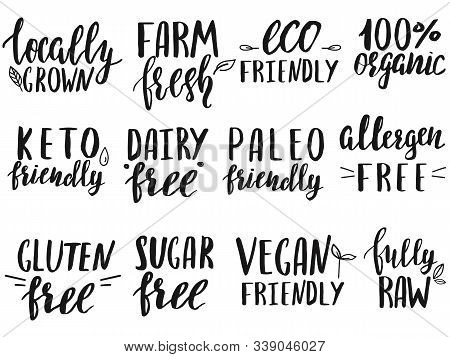 Set Of Dietary Food Labels Written By Hand.