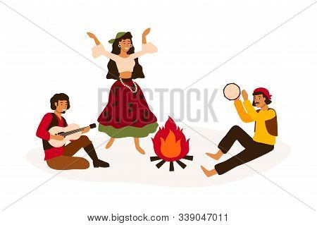 Gypsy Traditional Entertainment Flat Vector Illustration. Romani People Dancing And Playing Folk Mus