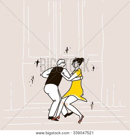 Swing Dance Couple Of Man In Vest And Woman In Short Yellow Dress. Fast Lindy Hop Or Shag Music. Bei