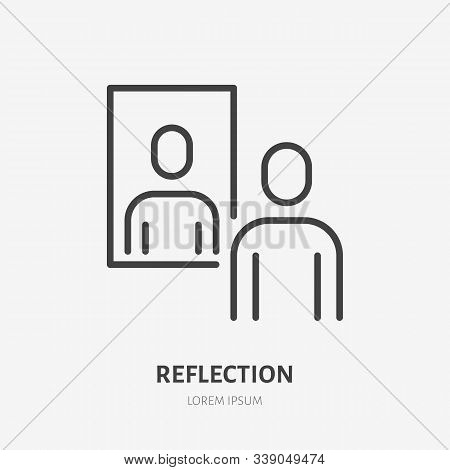 Person Reflection In A Mirror Line Icon, Vector Pictogram Of Confidence. Man Looking At Himself Illu