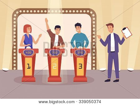 Quiz Tv Show Flat Vector Illustration. People Cartoon Characters Playing Television Game Show, Answe
