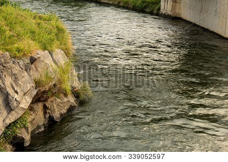 Water Flowing Through A Canal For Irrigation Purpose, Mettur, India