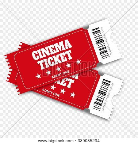 Two Cinema Vector Tickets  Realistic Front View Illustration. Close Up Top View On Two Designed Movi