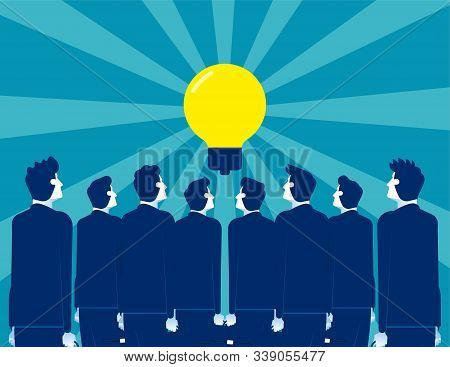 Business People Looking For Leader Ideas. Concept Business Vector, Spectators, Stand Back, Bulb.