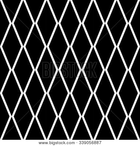 Black Rhombus Tessellation Seamless Pattern Vector. Diamond Grill Pattern. Perfect For Fabric Design