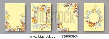 Botanical Herb Twigs, Tree Branches, Leaves Floral Invitation Cards Set. Herbal Corners Creative Car