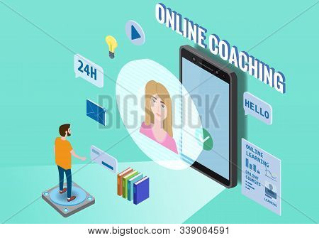 Online Coaching Education Training, Workshops And Courses. Flat 3d Isometric Design. Student Studyin