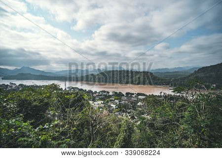 Luang Prabang City View From Phou Si, Top View The Unesco Town Of Luang Prabang World Heritage Site,