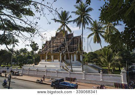 Luang Prabang, Laos - 14 January 2019: Luang Prabang National Museum And Haw Kham Temple In Laos Are