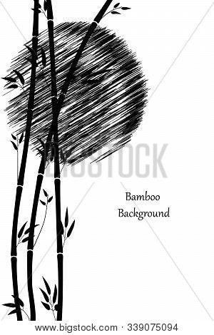Minimalistic Illustration. Bamboo And The Sun. Black Stems And Leaves Of Bamboo On A White Backgroun