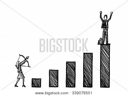 Freehand Drawing Of Business Woman Taking Aim With Bow And Arrow At Winning Male Rival Atop A Growth