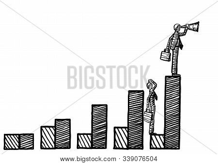 Freehand Drawing Of Business Man With Vision Atop Highest Bar Of Growth Graph Looking Into Future, W