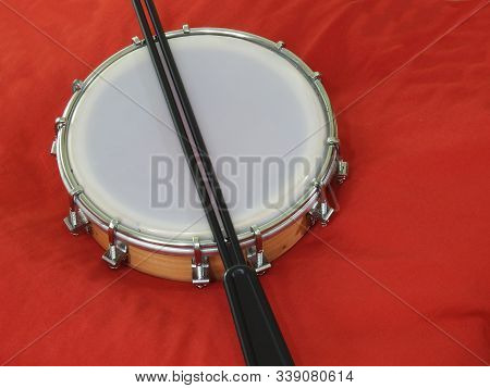 Tamborim And Drumstick: A Brazilian Percussion Musical Instrument. It Is Used To Play Samba, The Fam