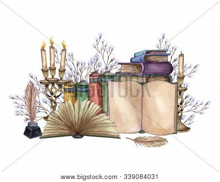 Hand Drawn Watercolor Illustration A Pile Of Old Books, Ink Bottle, Ink Feather, Floral Twig, Open B