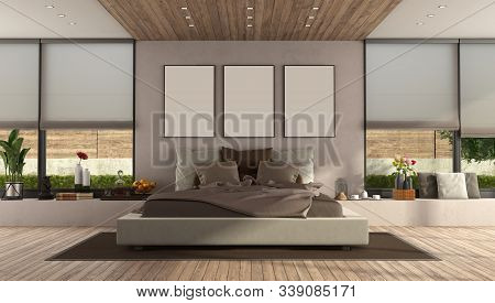 Modern Master Bedroom With Large Double Bed And Window - 3d Rendering